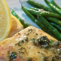 Grilled Sturgeon with Lemon-Caper Sauce